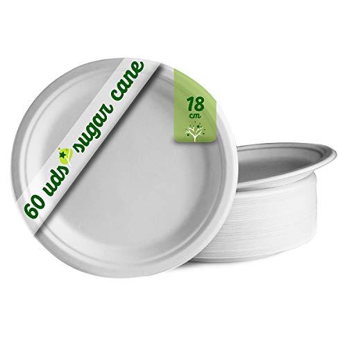 GoBeTree 60 Platos Desechables biodegradables de Papel de caña de azúcar de Ø18 cm. Vajilla desechable extrafuertes de Color Blanco. para Fiestas y picnics. Platos Redondos de bagazo.