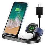 急速QI ワイヤレス充電器 AEOEO(2021最新版 3 in 1) ワイヤレスチャージャー QC3.0アダプター付属(贈答) TYPE-C ケープル 急速充電 3 in 1 充電スタンド 多機能 充電ベース 携帯電話 充電スタンド Airpods Pro/iWatch5(OS6) 急速充電 Apple watch スタンド Apple Watch充電器 iPhone 12 mini/12/12 pro/12 pro max /iPhone 11、Galaxy S10 などにも対応