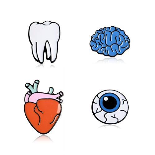 YAZILIND Ojo órgano Cerebro corazón Dientes Forma Broche Pins Ropa Accesorio Pecho Corsage (4pc)