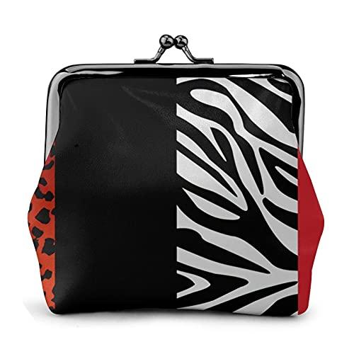Monedero monedero de cuero de la PU bolso rojo leopardo y cebra animal impresión mujer cartera embrague bolso señoras retro vintage impresión pequeño cerrojo