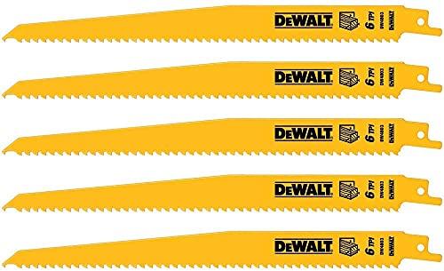 DEWALT Reciprocating Saw Blades, Tapered Back, Bi-Metal, 9-Inch 6-TPI, 5-Pack (DW4803)