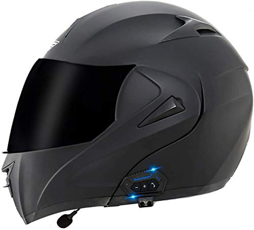 QDY Motorcycle Flip Up Helmet,Bluetooth Integrated Modular Flip Up Dual Visors Full Face Motorbike Helmets,Dot/ECE Approved Built-in Bluetooth Headset for Automatic Answering G,XL=61~62cm