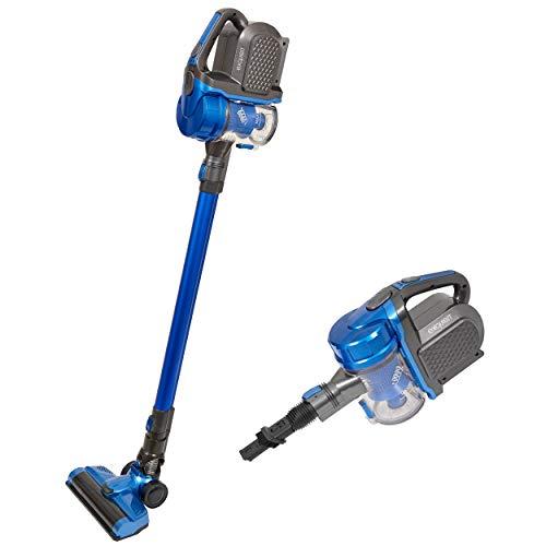 Exquisit Akku BP 6601 BLS | 2in1 kabelloser Staubsauger | beutellos | bis zu 40 Min. Akkulaufzeit | Verschiedene Düsen | LED-Beleuchtung | 150 W | blau/schwarz, 0.8 liters