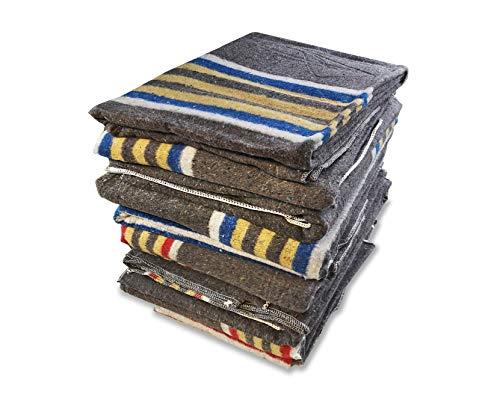 Lot de 10 couvertures de déménagement rayées 150 x 200 cm x 1350 g. 5 bleu jaune + 5 rouge jaune.