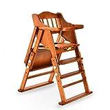 Daka Massivholz-Baby-Stuhl, verstellbare Falten-Baby-Hochstuhl mit abnehmbarem Fach, 0 Monate-10 Jahre (Natural Pine)