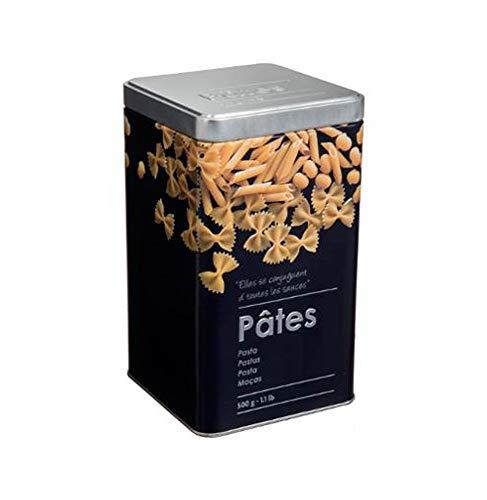 Boite alimentaire - Relief II - pâtes - 10.8 x 10.8 x 18.4 cm - Fer et étain - Noir