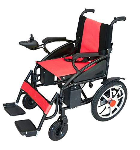 2020 Foldable Lightweight Li-on Battery Power Mobility Travel Electric Wheelchair Multi Terrain Scooter for Adults Red by Medical Care