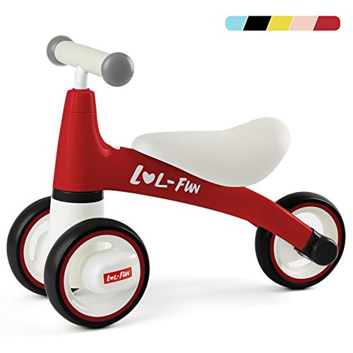 LOL-FUN Baby Balance Bike for 1 Year Old Boy and Girl Gifts, Toddler Bike for One Year Old First Birthday Gifts - Red