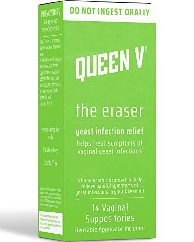Queen V The Eraser Yeast Infection Treatment | 14 Vaginal Suppositories | Reusable Applicator Included | Effective Formula | May Help Reduce Odor | Minimal Mess | Natural Alternative