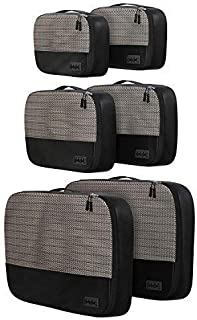 6pc Lightweight Travel Packing Cubes - Compression Luggage Organizers Set for Suitcase, Bag, Backpack, Luggage, Carry on (2 Small, 2 Medium, 2 Large, Black Lightweight Version)