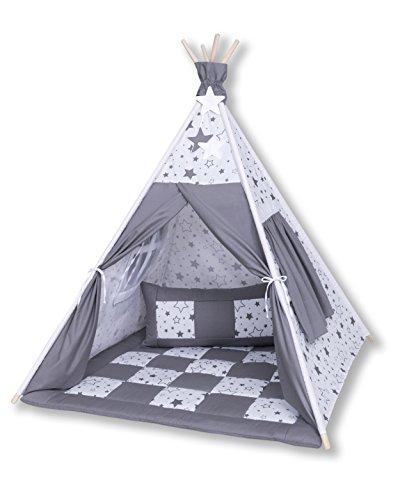 Amilian® Tipi Spielzelt Zelt für Kinder T27 (Spielzelt mit der Tipidecke und Kissen)
