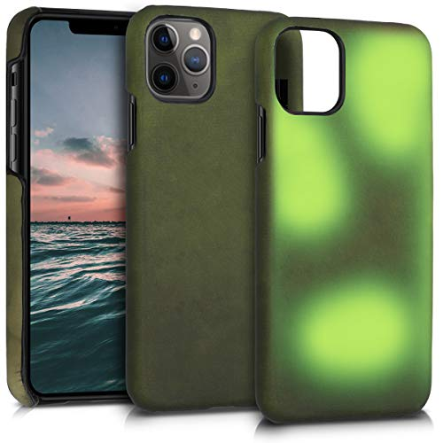 kwmobile Thermal Sensor Case Compatible with Apple iPhone 11 Pro - Color Changing Heat Sensitive Cover Black/Green