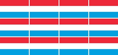Mini Aufkleber Set - Pack glatt - 50x31mm - Sticker - Luxemburg - Flagge - Banner - Standarte fürs Auto, Büro, zu Hause & die Schule - 12 Stück