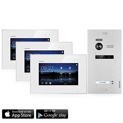 BALTER EVO Video Türsprechanlage ✓ Touchscreen 3x 7 Zoll Monitor ✓ Smartphone App ✓ 2-Draht BUS ✓ Türstation für 1 Familienhaus ✓ 1 Türklingel ✓ 150° Weitwinkel-Kamera