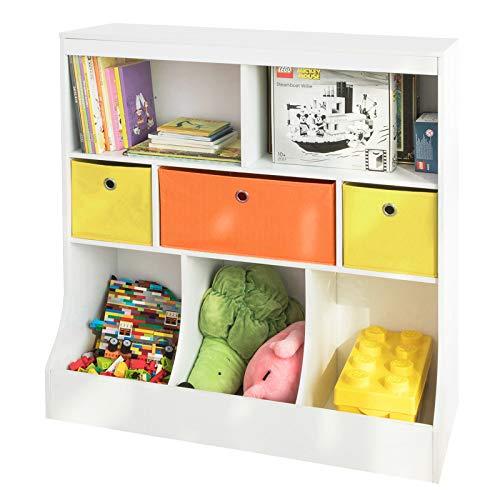 SoBuy KMB26-W Kinder Bücherregal Kinderregal mit 5 Ablagefächern und 3 Stoffboxen Spielzeugregal Aufbewahrungsregal für Kinder Spielzeug-Organizer Weiß BHT ca.: 92x93x40cm