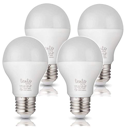 Tento Lighting A-19 Energy Saver and Low Voltage, 10w Equivalent to 60w-75w Brightness LED Light Bulbs Warm White, 12v (2000K - 3300K)(4/Pack)