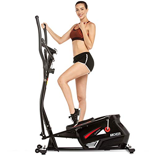 ANCHEER Magnetic Elliptical Machine, Quiet & Smooth Driven Elliptical Cross Trainer Machine with 10 Levels Resistance and LCD Digital Monitor, Best Indoor Exercise Machine Trainer for Home GymOffice