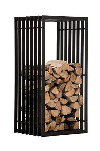 CLP Porte-bûche en Métal Noir Irving, Étagère de Rangement pour Bois de Cheminé – Construction Stabile avec Patins de Protection du Sol – Disponible en 2 Tailles: 40x50x100