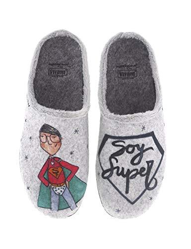 Divertidas Zapatillas de Casa para Hombre fabricadas en España Vivant 202561 Gris - Color - Gris, Talla - 40