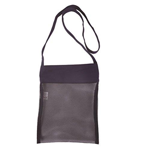 BESTOYARD Mesh strandtas schouder nettas handtas voor volwassenen kinderen (zwart)