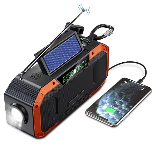 【令和3年新版】ワイドFM(FM補完放送)対応 防災ラジオ 防災ソーラー充電 手回しラジオ 5000mAH IPX5防水 AM/FM携帯ラジオ 手巻き スマホ充電 てまわし発電 ラジオライト 読書灯 SOS警報 Bluetooth5.0 type-c充電
