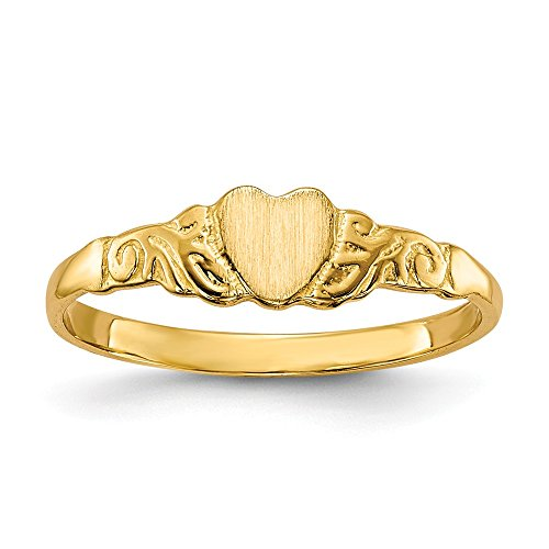 14k Yellow Gold Childs Heart Band Ring Size 4.50 Baby Fine Jewelry For Women Gifts For Her