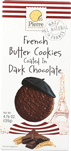 Biscuiterie De L Abbaye, Cookie Pierre French Butter Coated With Dark Chocolat, 4.76 Ounce
