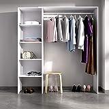 HABITMOBEL Mueble Perchero Blanco con Cuatro baldas, Barra de Colgar, Medidas: Alto: 187 cm x Fondo: 40 cm x Ancho: 140 cm