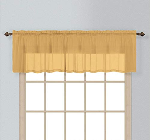"""California Drapes 1PC Sheer Voile Window Treatment Valance for Kitchens, Bathrooms, Basements & More (Gold, 55"""" X 14"""")"""