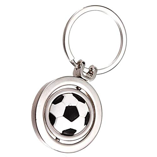 Fliyeong 1Pcs Funny 3D Rotating Football Soccer Keychain Sports Key Chain Ring Keyring Accessories Gift Durable and Useful