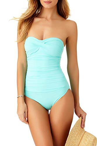Anne Cole Women's Twist Front Shirred One Piece Swimsuit, Turquoise, 14