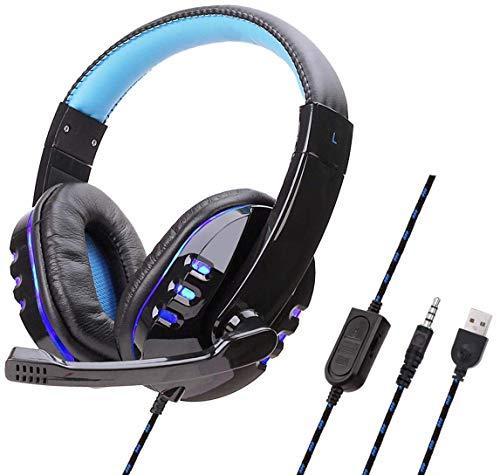 Estéreo con Cable Auricular for Juegos LED Lightnoise cancelación con micrófono de 3,5 mm Unidad de Jack Hi-Fi Altavoz for Xbox Xbox Onex un Interruptor PS4 P54 Pro, Rojo Negro ggsm