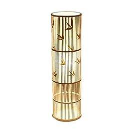 ACwhisper Creative rotin Salon Lampadaire Asie du Sud-Rétro Salon de thé Décoration rotin Bambou Pied Lampe Salon…