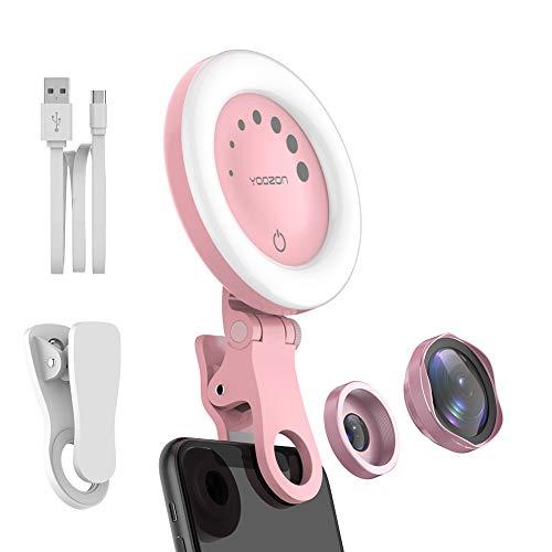 Yoozon Selfie Ringlicht Handy Kamera Linse(0.6X Weitwinkelobjektiv+15X Makrolinse),Make-up Licht 7 Stufen 3 Farben aufladbar dimmbar für alle Android iPhone Smartphone,Tabelt,Laptop,PC,Spiegel usw.