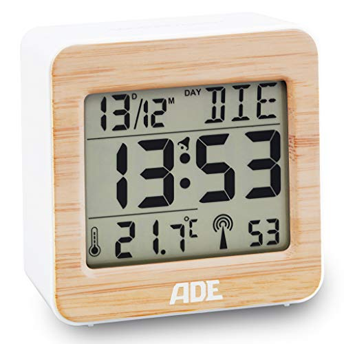 ADE CK1941 Réveil Radio-piloté numérique avec Signal horaire DCF, boîtier en Bambou véritable, écran LCD, éclairage, thermomètre pour température ambiante, Fonction Snooze et Calendrier, Pile Incluse