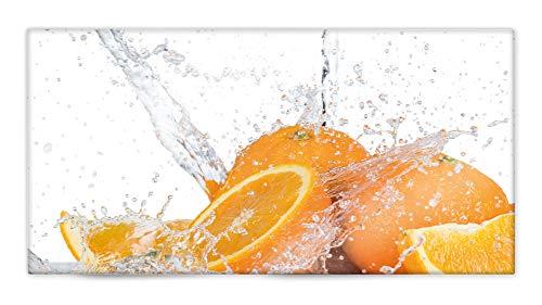 Glasvision | Küchenrückwand aus Glas | Spritzschutz | Memoboard | Herdabdeckplatte (80 x 40 cm, Orange Splash)