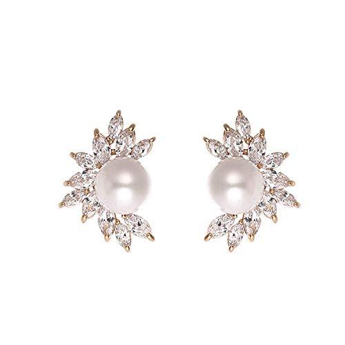 Para la flor S925 pendientes de plata pura ojo de caballo Zircon perla pendiente joyería