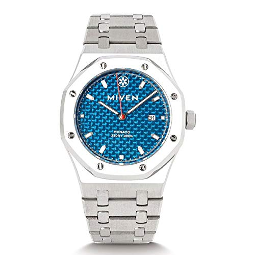 MIYEN MUNICH Monaco Blue Steel 1240-43-3 Classic - Reloj de pulsera para hombre, cristal de zafiro, 10 ATM