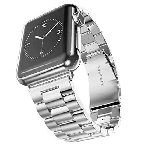 Ytrapeze, cinturino in metallo per Apple Watch, 38 mm, 40 mm, 42 mm, 44 mm, cinturino di ricambio regolabile in acciaio inox, per Apple Watch serie 1/2/3/4/5 (38 mm, argento e nero)