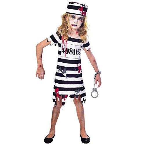 amscan Zombie-Gefangene Kostüm für Mädchen Halloween schwarz-Weiss 122/128 (7-8 Jahre)