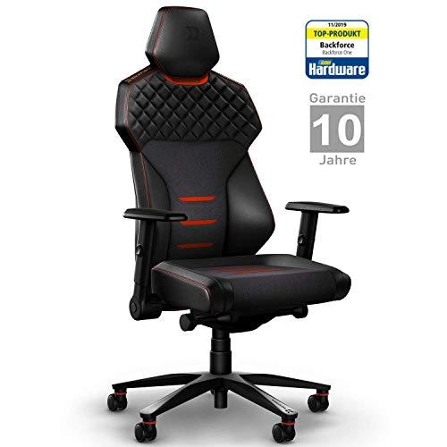 BACKFORCE One – Premium Gaming Stuhl/Schreibtischstuhl mit optimaler Ergonomie für langes Sitzen – Gaming Chair Made in Germany – Entwickelt mit E-Sports Profis für Gamer (Rot)