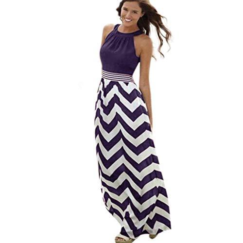 Damen Gestreift Lange Boho Kleid, Hirolan Übergröße Maxikleid Dame Strand Sommerkleid Lange Kleider Ärmellos Partykleid Festliches Kleid große größen (Lila 6, XXXL)