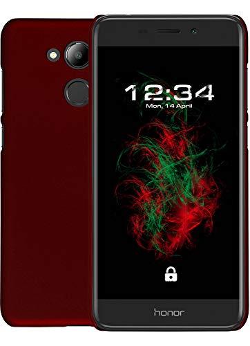 Baluum Hardcase gummierte rote Hülle für Huawei Honor 6c Pro Schutzhülle Hülle Cover Handyhülle Backcover Hartschale aus robusten Kunststoff (HC-G, rot)