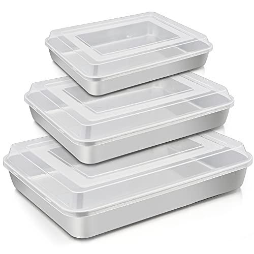 """TeamFar Lasagna Pan(3 Pan & 3 Lids), 12⅖"""" & 10¼"""" & 9⅖"""" Cake Pan with Lids, Rectangular Baking Pan Stainless Steel Bakeware Set for Lasagna Cake Brownie, Healthy & Sturdy, Dishwasher Safe"""