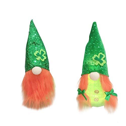 Moent Decoración de muñeca sin rostro del día de San Patricio, adornos de gnomo de Rudolfo irlandés de felpa, regalos de juguete para niños, suministros de decoración del hogar (A, 2 unidades)