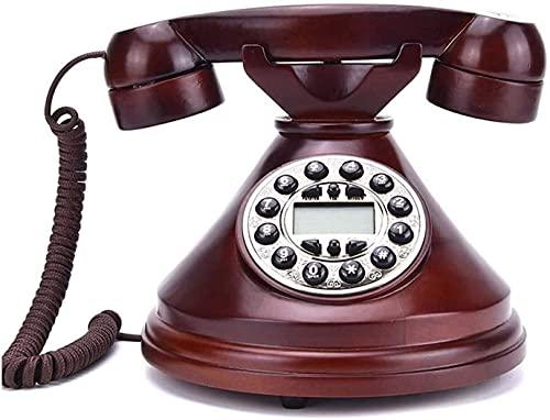 Teléfono antiguo Home Home Office Decoración de la oficina Sólido Madera antigua Retro con cable fijo Digital Teléfono digital con auriculares colgantes para el hogar Decoración del hotel Decoración T