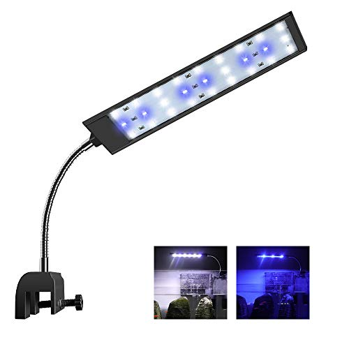 WOTERZI LED Aquarium Light Clip On Fish Tank Lighting Fit for 14-20 Inch Fish Tank & Aquarium White and Blue LEDs, 10W