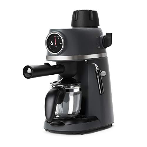 BLACK+DECKER BXCO800E - Cafetera de hidropresión, 3.5bar, diseño moderno con termómetro frontal, boquilla de vapor, jarra cristal, hasta 4 tazas, filtro de acero, negra, 800W