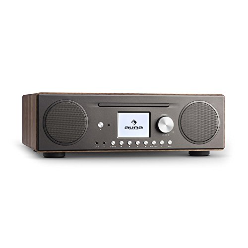 auna Connect CD Radio de Internet - Reproductor de CD-MP3 , Dispositivo Digital Dab/Dab+ , Interfaz WLAN , Spotify Connect , Bluetooth , Sintonizador de Radio FM con RDS , AUX , USB , Nogal