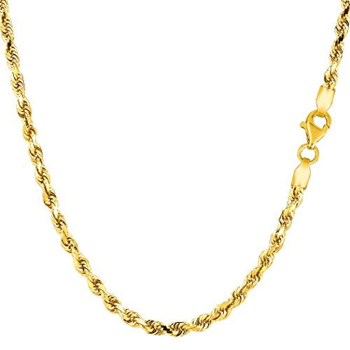 14K Amarillo Chapado en oro sólido cuerda collar de cadena, 3,2mm de ancho